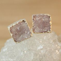 Silver Druzy Quartz Square Earrings  Lilac Grey Geode by OhKuol, $32.00