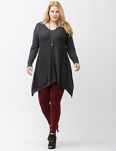 Feminine floral scroll leggings are a warming trend for layering under everything from sweater dresses to dressed-down cut-offs. Pull-on style with a ribbed elastic waist. lanebryant.com