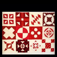 A sampling of my RED Dear Jane quilt blocks