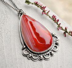 Red Agate Druzy Silver Statement Pendant Necklace by EONDesign