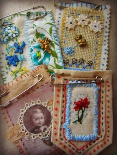 vintage inspired embroidered brooches - love these! Textile Jewelry, Fabric Jewelry, Textile Art, Jewelry Art, Jewellery, Embroidery Stitches, Hand Embroidery, Fabric Brooch, Fabric Journals