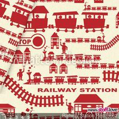 Eisenbahn Stoff in rot auf hellgelbem Hintergrund. I www.stoff.love