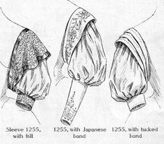July 1907. Ladies' Sleeves with Japanese Effects. The Japanese effect is the key note of the season's style. Suggested fabrics: supple wool, embroidered silk, or a heavy lace with bands of silk outlining the edges. (Modern suggestion: brighten up an old costume with tucked, embroidered or lace bands over the sleeve caps.)