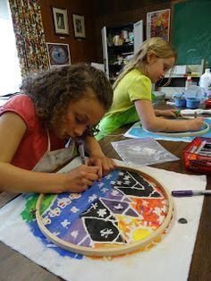 There'S a dragon in my art room: toothpaste batik: round landscapes! get the kids involved! Art Lessons For Kids, Art Lessons Elementary, Art For Kids, 6th Grade Art, Batik Art, School Art Projects, Art Club Projects, Middle School Art, High School