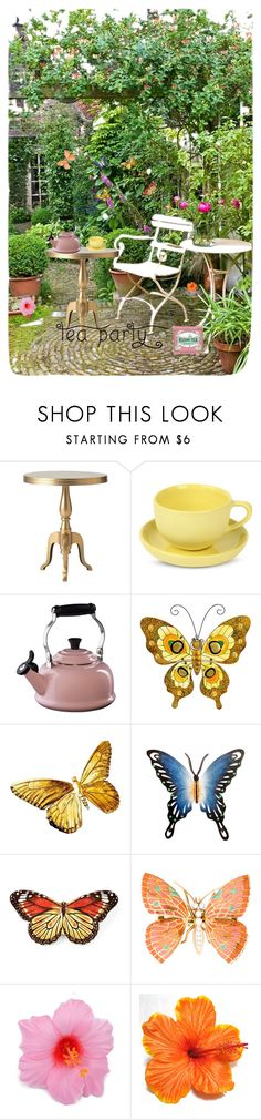 """Tea Party"" by coralreef112 ❤ liked on Polyvore featuring interior, interiors, interior design, home, home decor, interior decorating, Home Decorators Collection, Mud Australia, Le Creuset and NOVICA"
