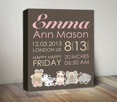 Baby Birth Announcement Canvas, Baby Girl Announcement, Birth Stats, Newborn Print, Baby Personalized Gift, Animal Birth Announcement Canvas by MummyPic on Etsy https://www.etsy.com/listing/213245102/baby-birth-announcement-canvas-baby-girl