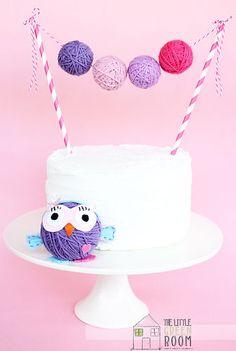 "Giggle And Hoot "" Hootabelle "" Large Yarn Ball Cake Banner"
