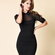 Witch, please. (Collectif Black & Sheer Swiss Dot Short Sleeve Wednesday Wiggle Dress)