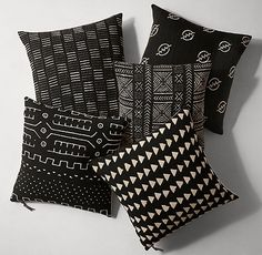 Handwoven African Mud Cloth Pillow Cover - Square - Black/Natural