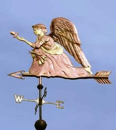 Angel Weathervane Kneeling Angel by West Coast Weather Vanes. She is meant to depict a gentle angel who watches over creatures large and small. In this version she befriends a small bird, in the spirit of St. Francis of Assisi. West Coast Weather, Angel Theme, Willow Tree Angels, Old Windmills, Blowin' In The Wind, Lightning Rod, Weather Vanes, Angels Among Us, Gold Accents