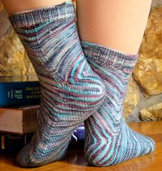 Skew sock - Knitty: Winter 2009, by Lana Holden.  The pattern is on Ravelry, as a PDF download, but in 4-5 languages, not in English that I could find.  Fortunately Knitty featured it with English instructions in 2009... looks like fun