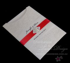 red white pearl pocket sleeve wedding invitations by wwwtangodesigncomau