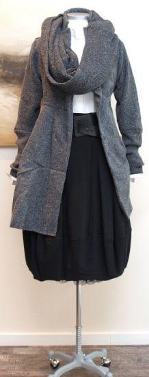 rundholz - Mantel U-Ausschnitt Tweed anthra - Winter 2013