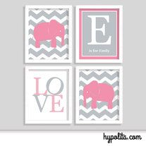 Chevron Elephant Nursery Print - Modern Nursery Art - Set of Four 8x10 Prints - Chevron Nursery - Thumbnail 1