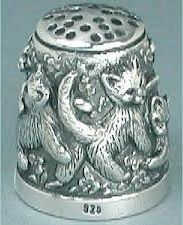 Vintage Sterling Silver Cat Thimble - Circa 1970s