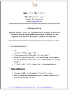 latest llb and company secretary resume sample in doc. Resume Example. Resume CV Cover Letter