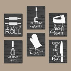 KITCHEN QUOTE wall art, funny utensils wall decor canvas or prints just beat as i roll, dining room decor, set of 6 Choose your colors - New Kitchen Decoration Kitchen Canvas, Kitchen Artwork, Kitchen Vinyl, Funny Kitchen, Kitchen Prints, Nursery Canvas, Wall Canvas, Canvas Art, Cadeau Client