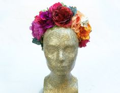 Frida Kahlo Floral Headpiece -  Colorful Flower Crown, Rainbow, Mexican, Flower Headpiece, Costume, Frida Kahlo, Frida Flower Crown, Gypsy