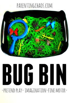 Bug Bin: A Simple Slimy Sensory Bin Items needed: Cooked Spaghetti Green Food Dye A Bin (Rubbermaid works great) Insect TOOBS Magnifying Glass Fine Motor Toys (scoops, tweezers, spoons, etc) Insect Activities, Spring Activities, Sensory Activities, Learning Activities, Preschool Activities, Vocabulary Activities, Party Activities, Kindergarten Sensory, Preschool Learning