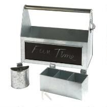 Metal Picnic Caddy Set with Chalkboard
