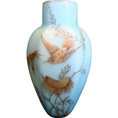 English Satin Blue Cased Art Glass Six-Sided Vase w Hand Painted Bird c 1885 found at www.rubylane.com @rubylanecom