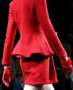 Minimal futuristic structure chic bold red pants suit Giorgio Armani Privé Fall Winter 2014 #CoutureParis #Fall2014 #HauteCouture