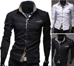 New Mens Casual Slim Fit Stylish Dress Shirts Colour:blue,Gray ...