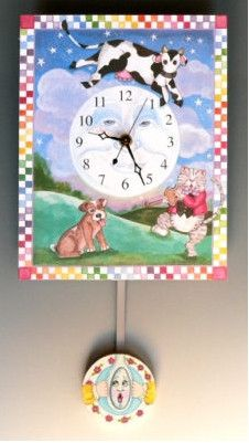 Cow Jumped Over the Moon Pendulum clock handmade in America by Artist Terrie and Richard Floyd. Available at www.toymakerscollection.com