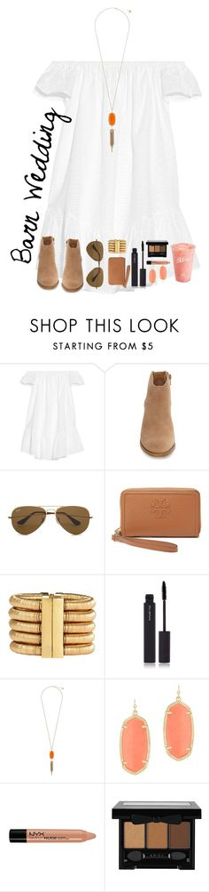 """Barn Wedding"" by lacrosse-19 ❤ liked on Polyvore featuring Elizabeth and James, Lucky Brand, Ray-Ban, Tory Burch, Balmain, shu uemura, Kendra Scott, Disney, Target and NYX"
