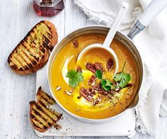 Pumpkin soup is given a Moroccan twist by roasting the pumpkin perfumed with cinnamon and adding fiery north African Harissa paste. Finished with a dollop of yoghurt and candied maple pecan. Kale Recipes, Quiche Recipes, Healthy Soup Recipes, Pumpkin Recipes, Curried Sausages, Vegetarian Quiche, Roast Pumpkin Soup, Pea And Ham Soup, Winter Soups