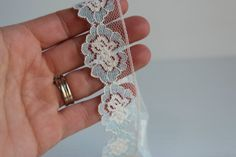 SCALLOP LACE TRIM white and blue lace trimflower by TheJellyJar
