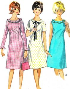 Dress Pattern Simplicity 5910 Mod Day Evening Dress A Line Dress Ruffled Collar Peter Pan Collar Womens Vintage Sewing Pattern Bust 34 Vintage Outfits, Vintage Dresses, 1960s Dresses, Vintage Dress Patterns, Clothing Patterns, 1960s Fashion, Vintage Fashion, Vestidos Retro, Patron Vintage