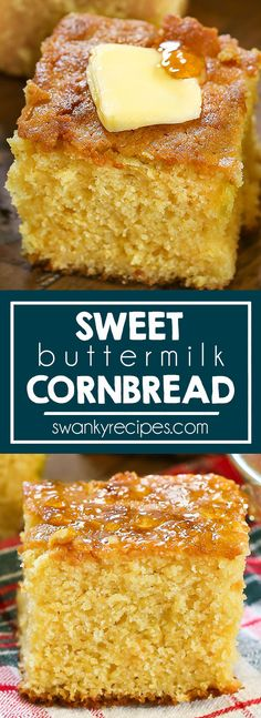 Sweet Buttermilk Cornbread - A taste of the French Quarter. Authentic New Orleans cornbread made with buttermilk, cornmeal, eggs, sugar, honey, and butter. This moist southern cornbread recipe is dense and cake like and it's the real deal from a local in the deep south of Louisiana. Do what the locals do and serve this as an appetizer, side dish, or dessert for Thanksgiving and Christmas holidays. #cornbread #souternrecipes #neworleansrecipes