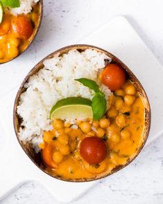 Kikärtsgryta med röd curry och kokosmjölk - Wonder Vegan Chana Masala, Curry, Ethnic Recipes, God, Curries