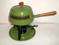 Vintage Fondue Pot - Fondue Set - Avocado Green and Black - Candle Holder Stand - Base Plate - Fondue Cooking Set - Green Fondue Pan This vintage