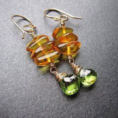 Amber and idocrase earrings Victorian 201