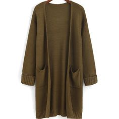 Flange Pockets Knit Army Green Cardigan (64 BRL) ❤ liked on Polyvore featuring tops, cardigans, outerwear, sweaters, jackets, green, olive green cardigan, long sleeve knit tops, knit cocoon cardigan and brown knit cardigan