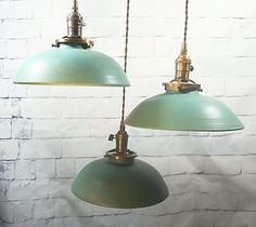 FREE SHIPPING TO USA! This one is a beautiful Turquoise Matt very industrial looking. Our Hanging Pottery Lights are all made by hand on the potters