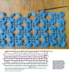 Punto Flor calado - Moldes para hacer un chal a crochet gratis