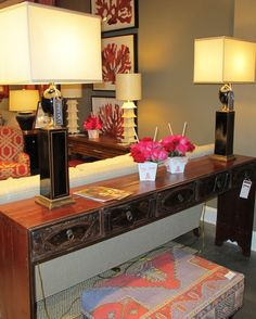 console table on display at the CR Laine Showroom in High Point Living Room Decor, Bedroom Decor, Bedroom Ideas, Small Master Bedroom, Chinese Antiques, Other Rooms, High Point, Console Table, Showroom