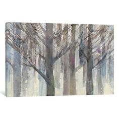 """Three Posts Forest Light Painting Print on Wrapped Canvas Size: 18"""" H x 26"""" W x 1.5"""" D"""
