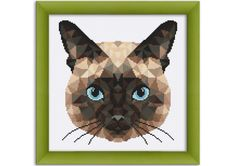 PDF Cross Stitch Pattern Geometric Siamese Cat by LetsMakeCrafts