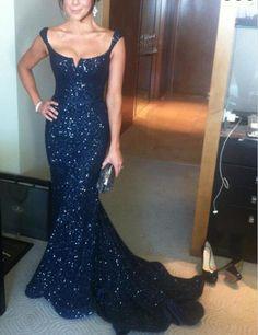Navy sequin Prom Dresses, Sparkly Prom Dress, Mermaid Prom Dress, 2016 Prom Dress, dresses for prom, fashion prom dress, unique prom dress. CM789