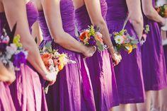 Eggplant bridesmaids, bouquets, orange, purple, white, eucalyptus, country chic {maxit flower design}