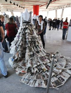 "Folded dress, made of paper (Shenker+Haaretz exhibition, ""The materials which make up words"")"