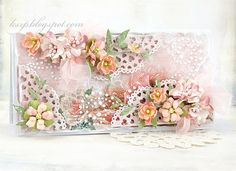 Stunning and inspiring handmade card by the awesome Klaudia Szpunar from KSZP blogspot and a Design Team member for Lemoncraft. A lot of flowers, diecuts, beautiful papers and bling give this card shabby chic appeal.