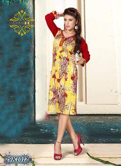 Stunning Yellow & Red Coloured Kurti