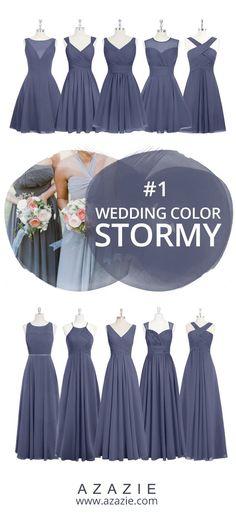 Azazie Stormy Swatch (in 3 fabrics) Blue, chiffon, mesh, lace, tulle, satin Bridesmaid dress, Wedding, Wedding gown