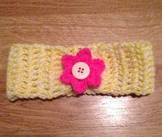 Baby headband with button center flower