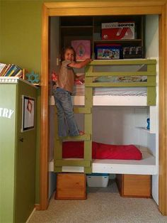 Built in bunk beds with stairs. Queen Bunk Thebuiltinbunkbedplans Emily Henderson 31 Diy Bunk Bed Plans Ideas That Will Save Lot Of Bedroom Space Bunk Beds Small Room, Toddler Bunk Beds, Bunk Beds With Stairs, Cool Bunk Beds, Bunk Rooms, Kid Beds, Small Rooms, Loft Beds, Kids Rooms